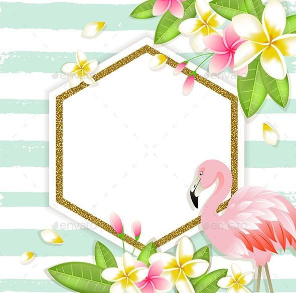 Floral Tropical Banner With Flamingo #Tropical, #Floral