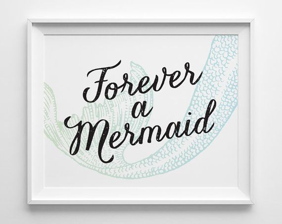 Forever+a+Mermaid+Print+Green+Blue+Mermaid+by+SweetPeonyPress,+$10.00