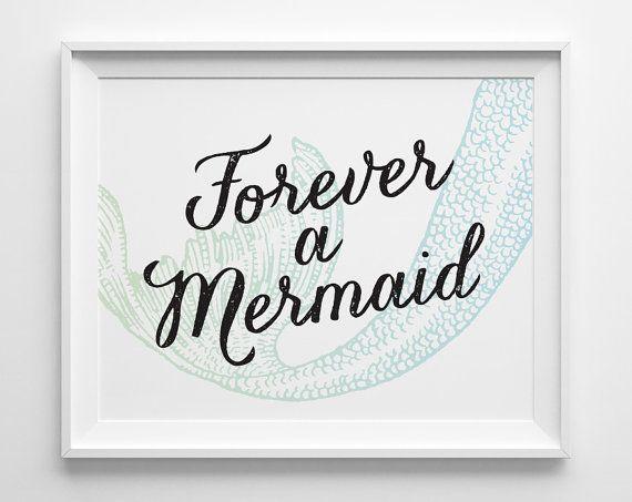 Forever a Mermaid Print Green Blue Mermaid by SweetPeonyPress