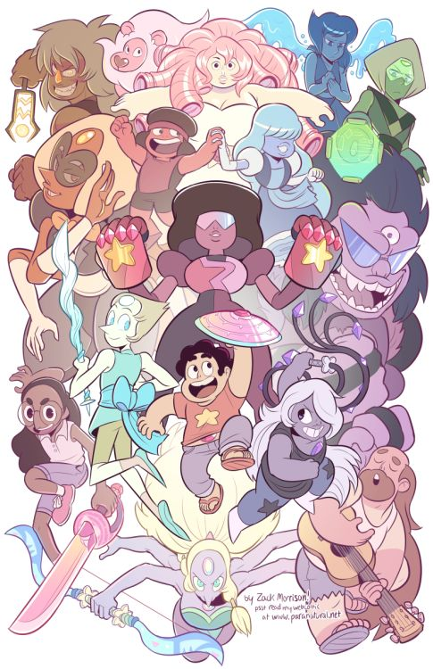 I drew a big ol' Steven Universe scramble, I really like how it turned out! If you come see me at Otakon I'm gonna be selling it as a print.Steven Universe is a good show and I'm super glad kids have it! Some of the episodes are hit or miss for me ~*~AS A CRITIC~*~, but that's every show, and when the writing is on point it's the best cartoon airing