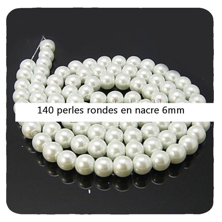 Perles en Nacre blanche *140 ronde grosseur 6mm                    perles,apprêts,cabochons,fil,fimo,pendentif,anneaux