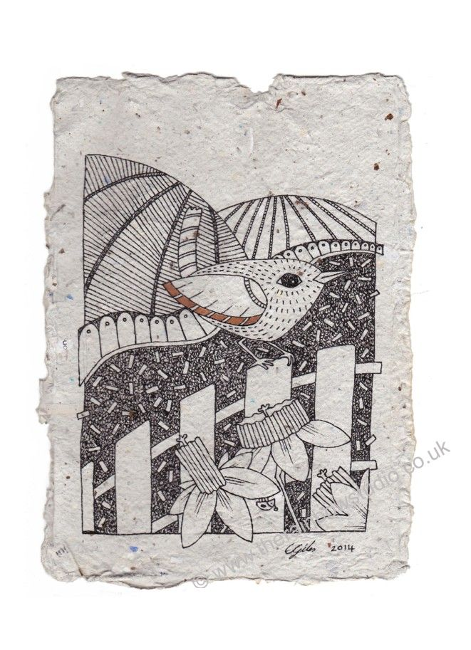 Jenny Wren, illustration on handmade paper by Emma Giles. SOLD @ The Willow Gallery
