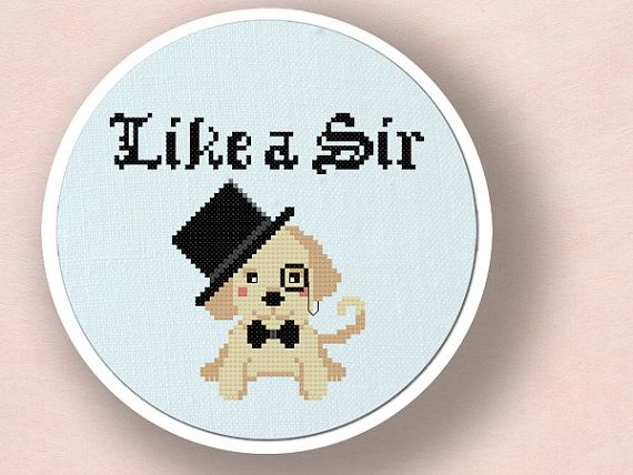 Like a Sir Cute Labrador Puppy Cross Stitch Pattern by andwabisabi, $5.00