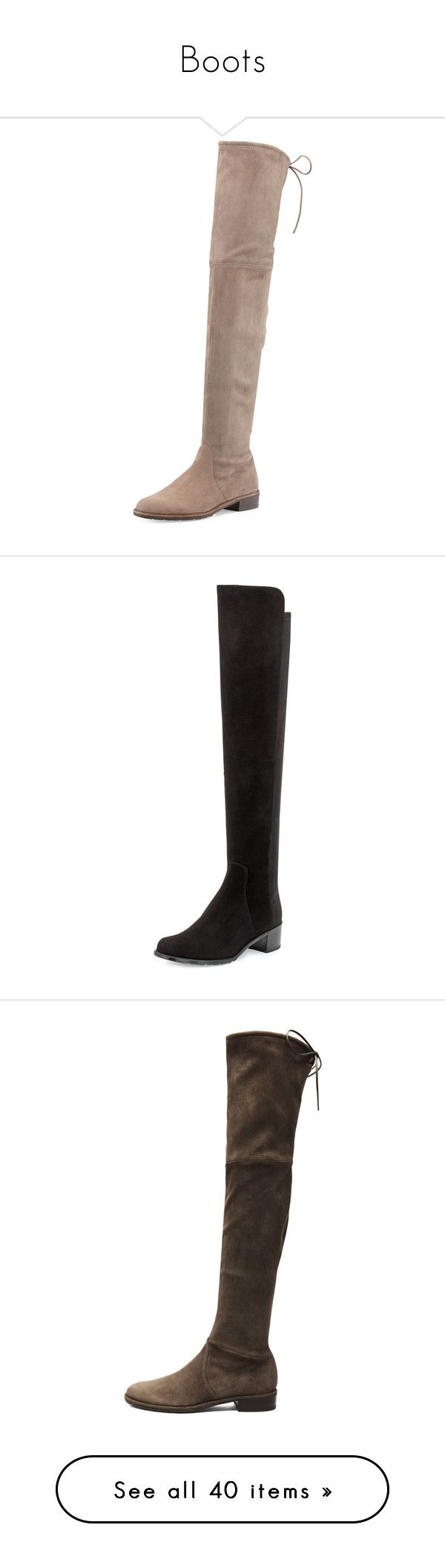 """""""Boots"""" by tdctje ❤ liked on Polyvore featuring shoes, boots, shoes and boots, praline, shoes boots, over-the-knee suede boots, stretch thigh high boots, flat suede boots, stuart weitzman boots and flat boots"""