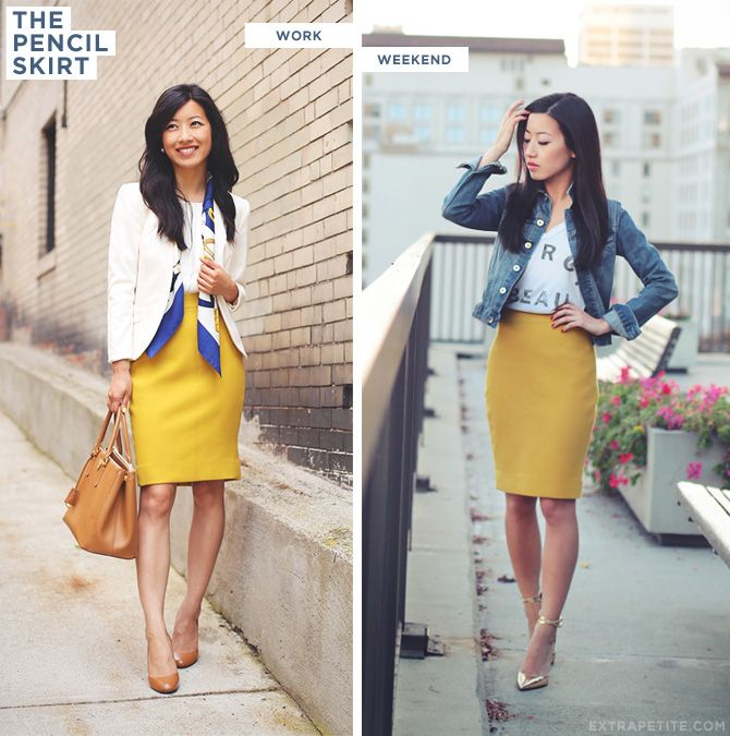 ExtraPetite.com - Dressed down pencil skirt :)