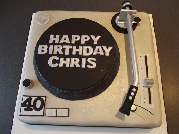 Record Player 40th Birthday Cake