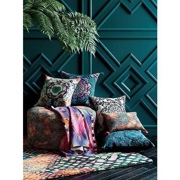 """peacock hearts with tassels 18"""" pillow with down-alternative insert   CB2"""