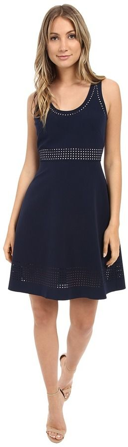 Donna Morgan Sleeveless Laser Cut Crepe Fit and Flare