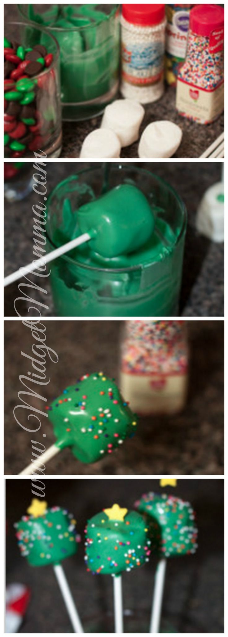 Christmas Tree Marshmallow Pops, perfect for the kids Christmas parties!  http://freesamples.us/
