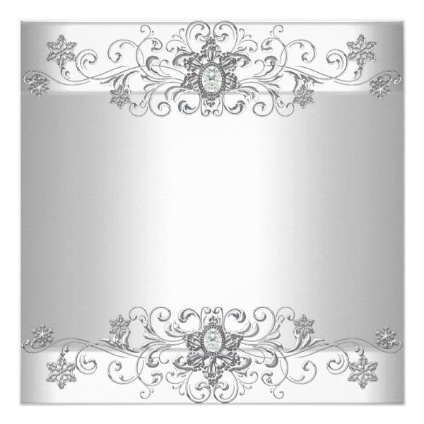 Elegant Wedding Silver White Diamond Jewel Invitation