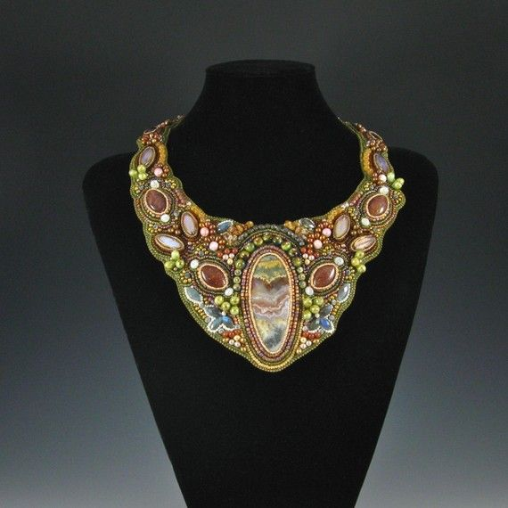 Rock My World Collar by Kate Tracton Designs - 50 hours of work went in this bead embroidery. Please use coupon code PIN10 to enjoy a 10% discount in my etsy shop!