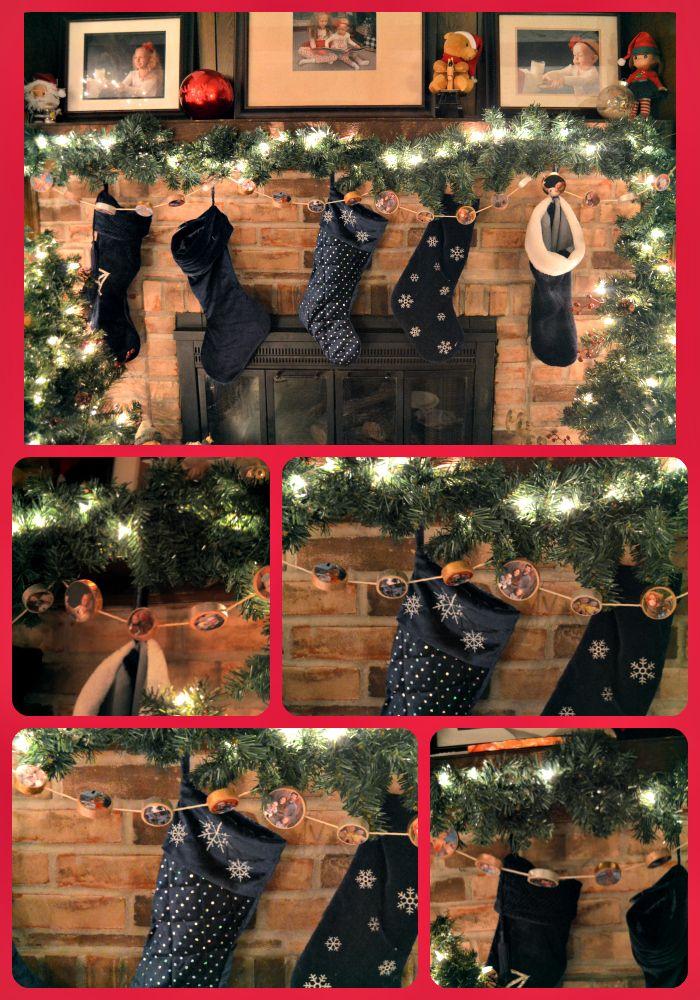 Christmas wood slice/ rustic family photo garland.