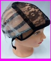 2015 Medium Size high quality Black Wig Caps For Making Weaving Wigs With Adjustable stretch lace Strap On The Black