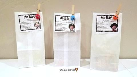 Me Bags for the First Week of School - This is a great activity for the first day of school in the Kindergarten, 1st, 2nd, 3rd, 4th, 5th, or 6th grade classroom. It's open ended enough to allow for differentiation, but it's still a GREAT get to know you activity. Click through to learn more and grab a FREE download as well. {K, first, second, third, fourth, fifth, sixth graders - freebie - beginning of the year, back to school, B2S}