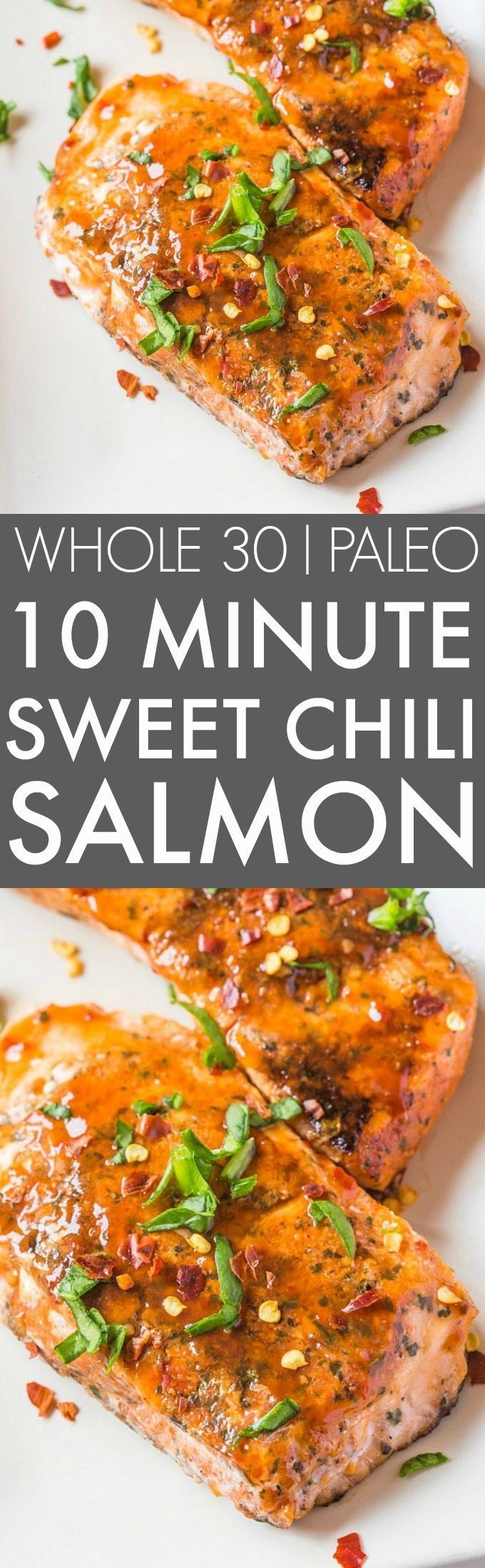 Easy 10 Minute Sweet Chili Salmon (Whole 30, Paleo)- Whole30 friendly sweet chilli/chili salmon seared in TEN minutes- SO flavorful and perfect low carb, high protein meal! {paleo, whole30, gluten free}- thebigmansworld.com/