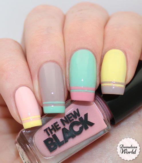 diseño de colores pastel en las uñas