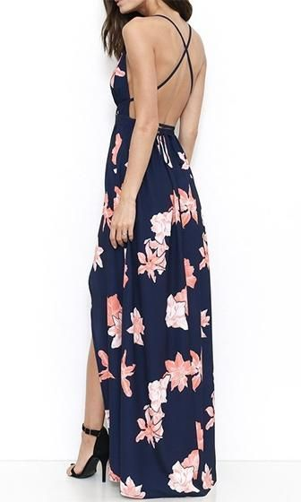 5a599b87a5 Far And Away Navy Blue Pink White Floral Sleeveless Spaghetti Strap Plunge  V Neck Crisscross Back High Slit Casual Maxi Dress