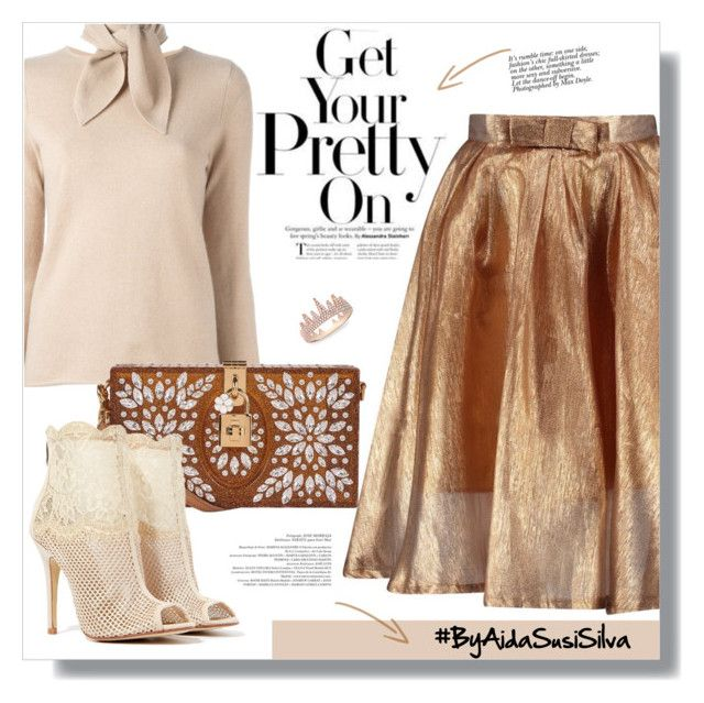 """Atara Metallic Bow Front Full Midi Skirt"" by aidasusisilva ❤ liked on Polyvore featuring Chloé, Dolce&Gabbana, Chinese Laundry and Anne Sisteron"
