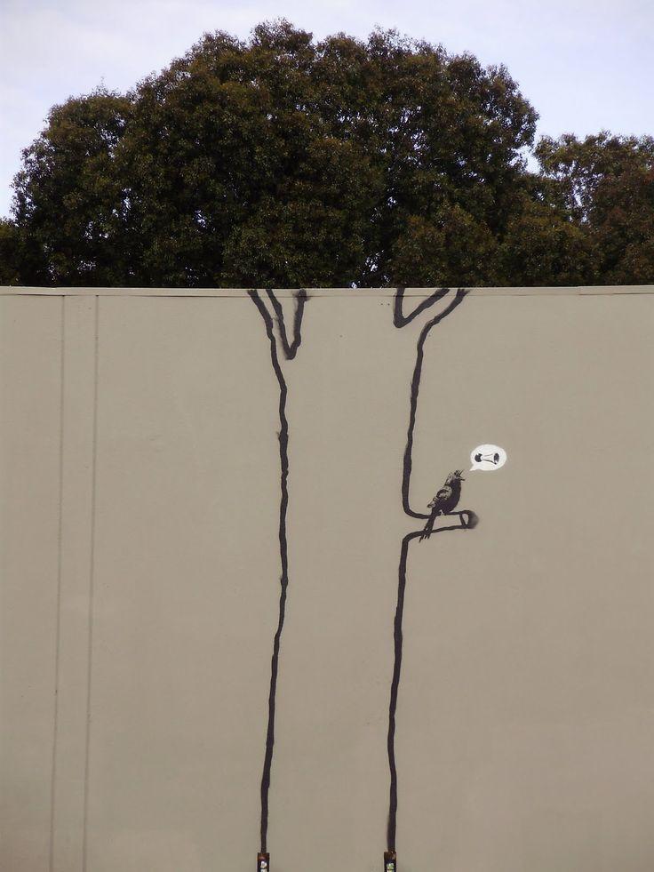 street art by Banksy in San Francisco CA.  000