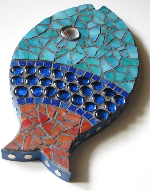 Pez rojo azul arte mosaico