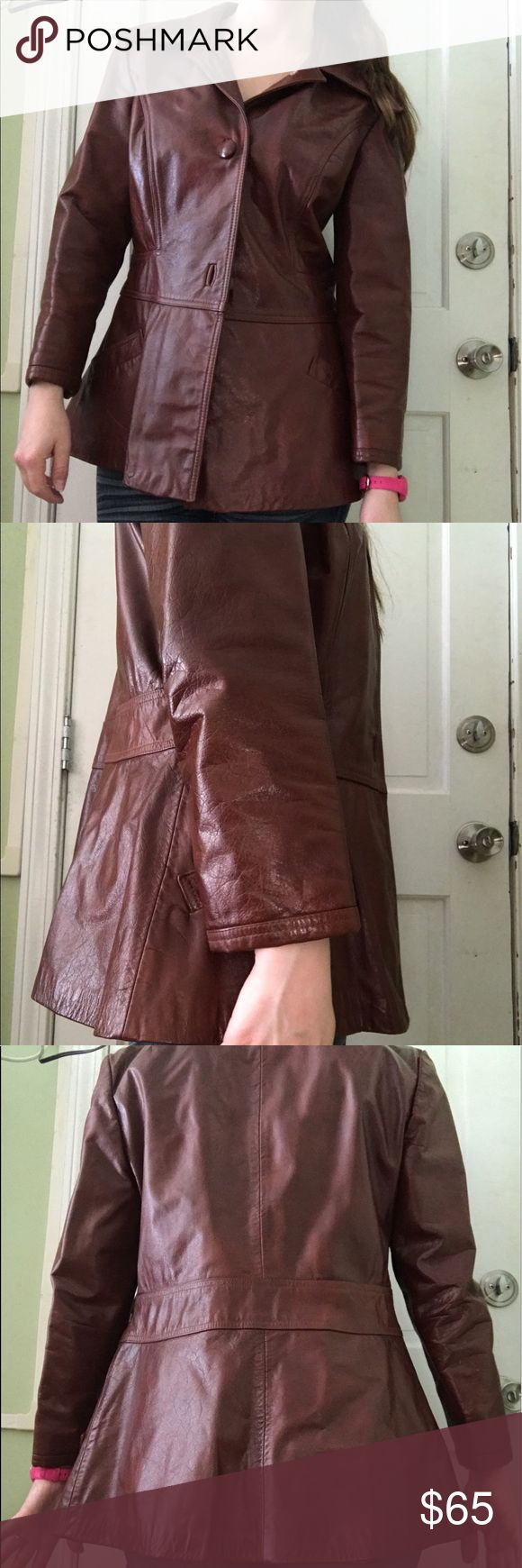 "Vintage ILGWU Genuine Leather Jacket Beautiful chocolate brown Ms. Courtney ILGWU (International Ladies Garments Workers Union) Genuine Leather Jacket. Great condition. Leather broken in. Minor scratch to the right sleeve and shoulder. It's a 14 but the woman was petite and I'm 5'5"", and a size 4-6 and it fits perfect but short on my arms. **from estate sale, has been in storage. Dry cleaning recommended** Jackets & Coats"