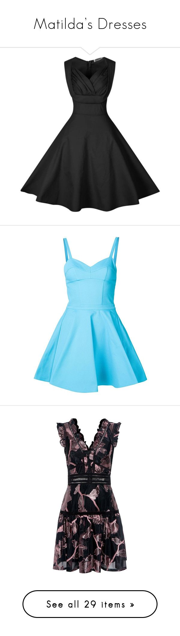 """""""Matilda's Dresses"""" by skh-siera18 ❤ liked on Polyvore featuring dresses, trapeze dress, vintage swing dress, sweetheart neck dress, retro-inspired dresses, retro-style dresses, vestidos, short dresses, blue and blue fit and flare dress"""