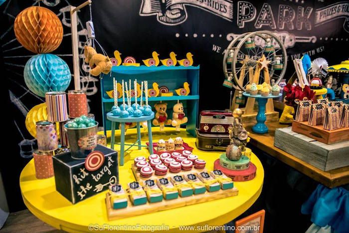 Party Table from a Vintage Carnival + Amusement Park Party via Kara's Party Ideas | KarasPartyIdeas.com (50)