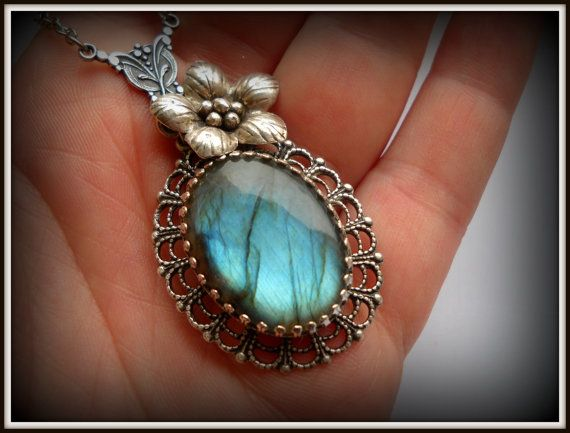 Victorian Blue Necklace  AAA Grade Flashy by HAartNouveauJewelry