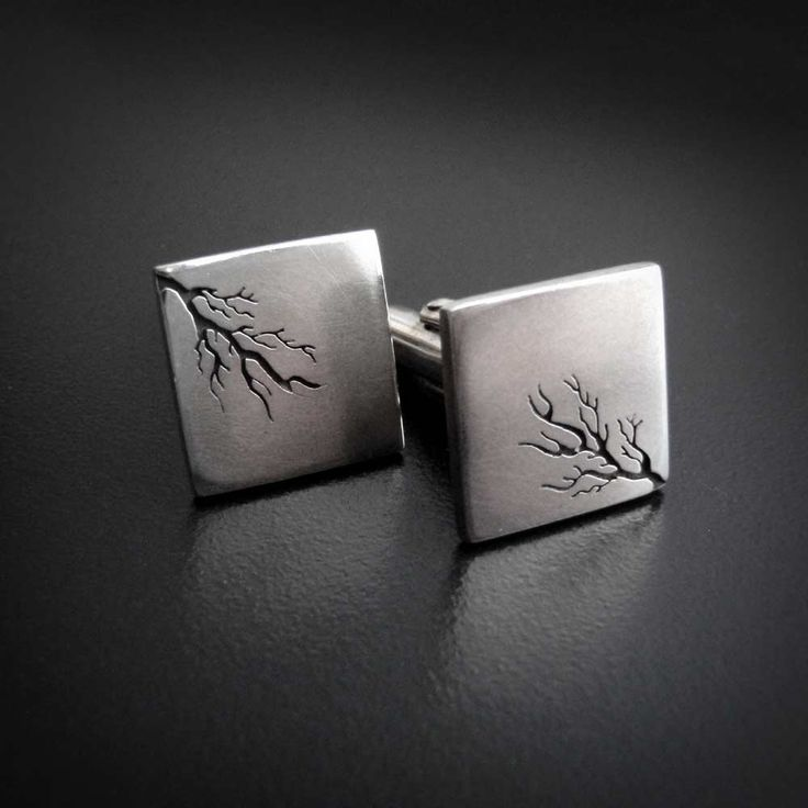 Square root - silver cufflinks handsawn by Abi Cochran.   Raddest Men's Fashion Looks On The Internet: http://www.raddestlooks.org