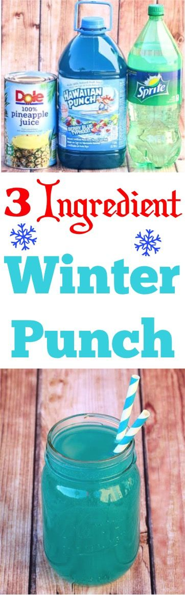 Winter Punch Recipes - This blue party punch is a crowd pleaser!  You'll only need 3 ingredients!