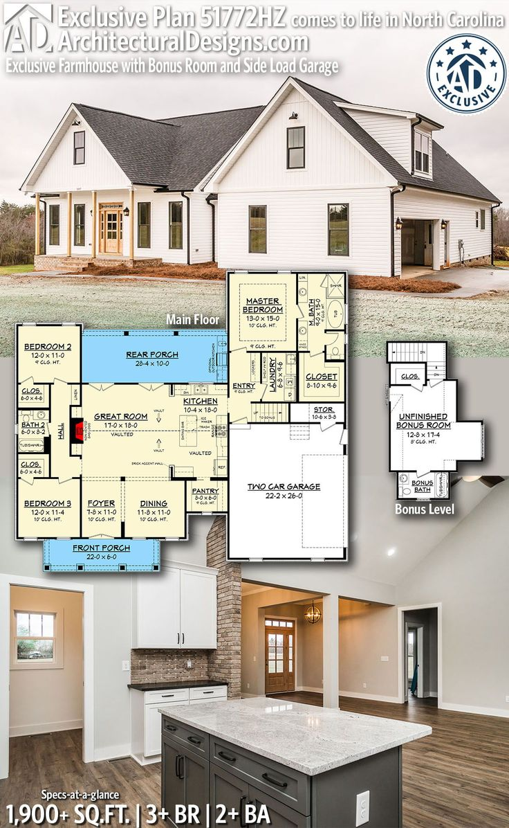 Plan 51772HZ: Exclusive Farmhouse with Bonus Room and Side Load Garage