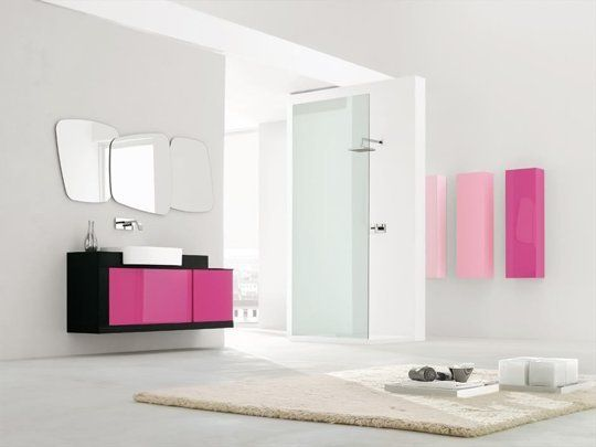 Contemporary Pink Bathroom Fixtures, Furniture U0026 Tile