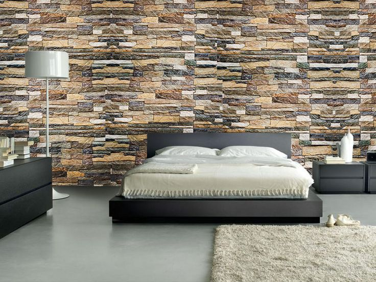 Dormitorio papel mural piedras mixtas decoracion - Murales para dormitorios ...