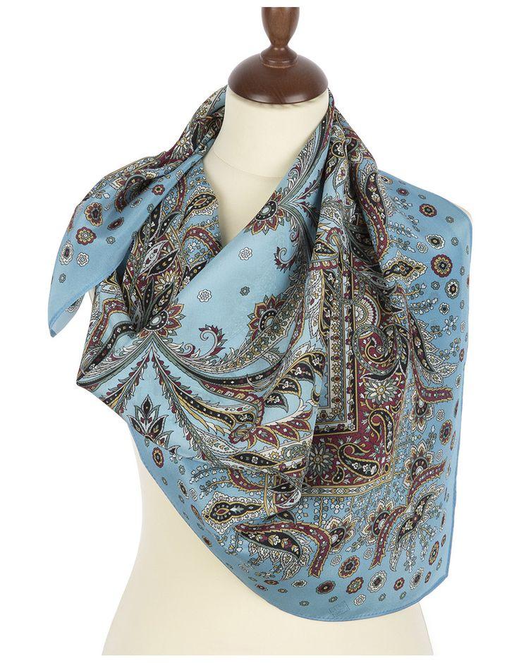 Silk shawl ''Coral Breeze'' | RusClothing.com  #blue #silk #floral #pattern #scarf #kerchief #headscarf #shawl