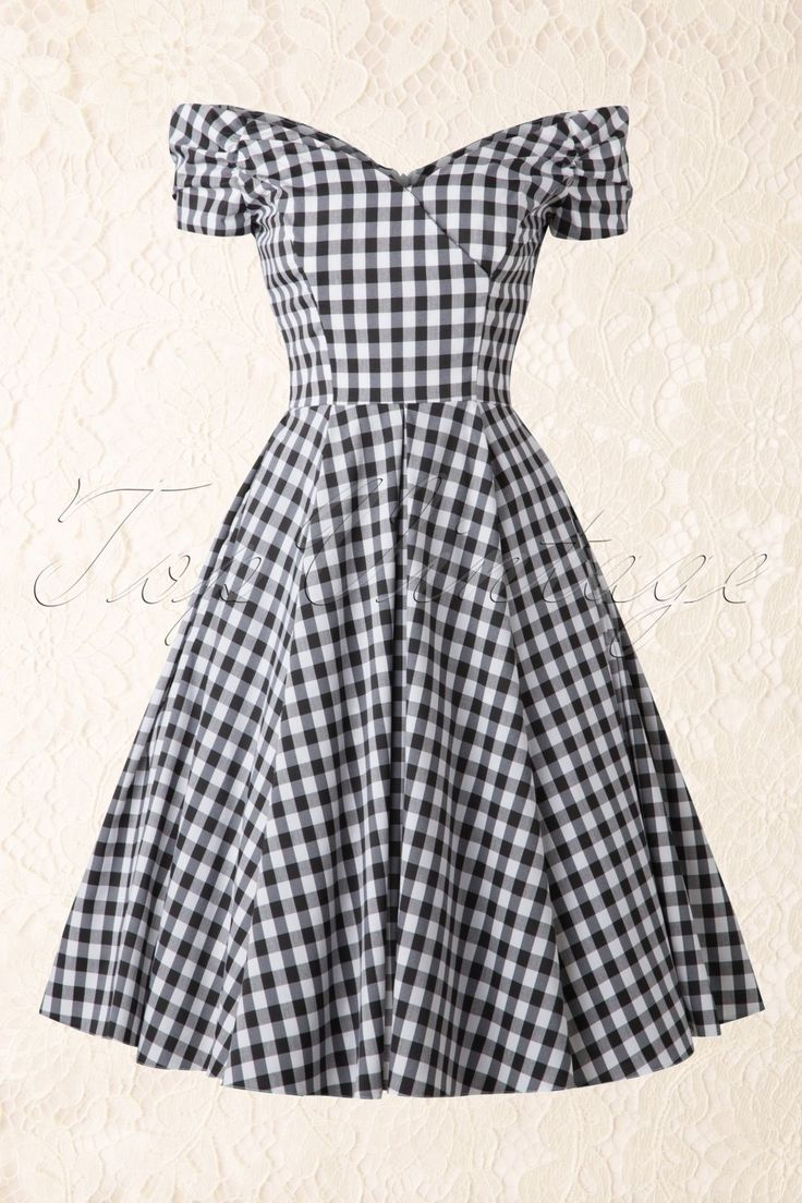 50s Fatale Gingham Swing Dress in Black and White