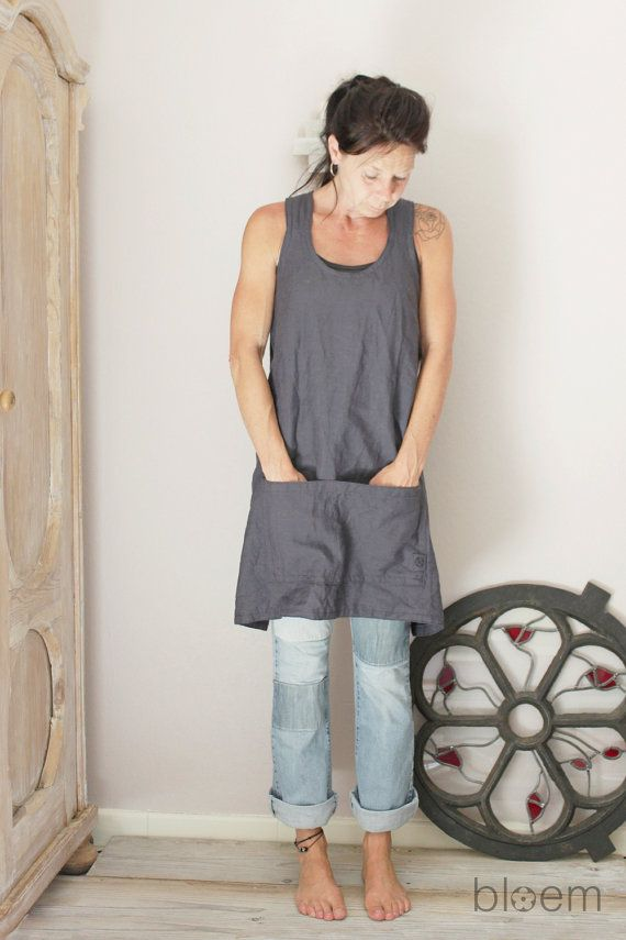 Linen apron in slate grey Cross back Pinafore apron by BloemFrance