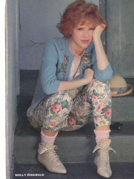 "This is an image of Molly Ringwald from the eighties movie, ""Pretty in Pink"". It's one of my favorite movies, and I find the fashions from it creative and inspiring. Her character in the movie is extremely stylish and unique, as well as super creative and crafty."