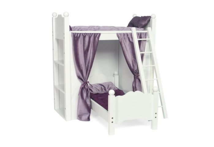 Fits American Girl Doll Loft Bunk Bed Furniture with Shelves & Storage | ... #EmilyRoseDollClothes