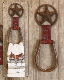 Horse stirrup towel holder, cowboy birthday?