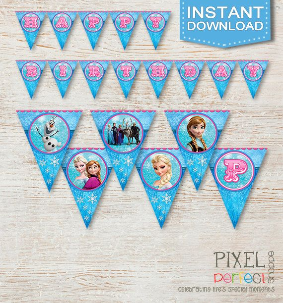 Frozen Birthday Banner, INSTANT DOWNLOAD FILE, delivered immediately after purchase. Frozen Birthday Invitations, Thank You Cards and Party Favors for any occasion! All custom and original designs created by Pixel Perfect Shoppe. :)
