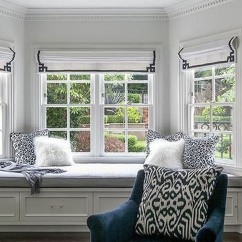 Master Bedroom Bay Window Bench with Navy Greek Key Roman Shades