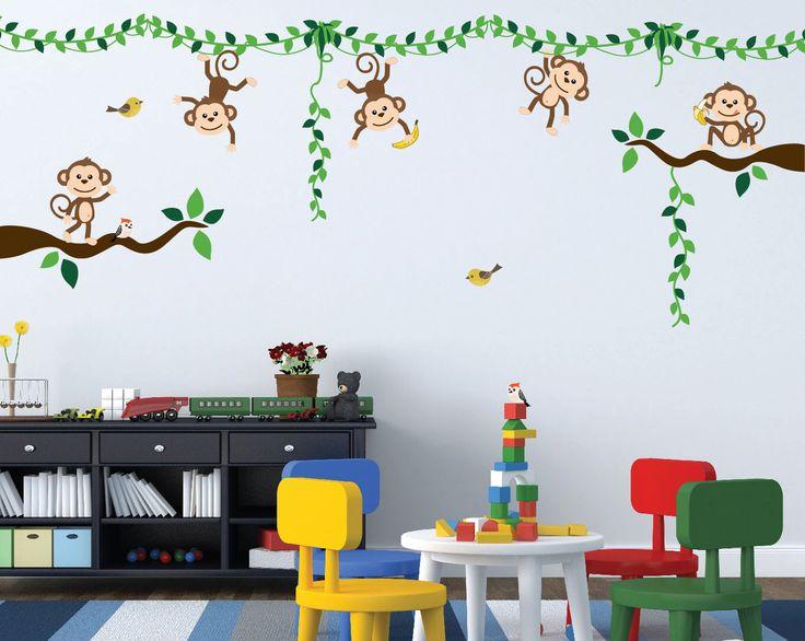 Monkey Jungle Tree Vine Forest Wall Decal Safari Birds Sticker Nursery Kids Room Decor Tropical Banana Set #3018 by innovativestencils on Etsy https://www.etsy.com/listing/468892438/monkey-jungle-tree-vine-forest-wall