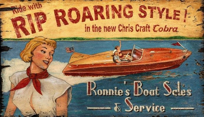 Very nice Vintage sign !   Rip Roaring Chris Craft Style Sign