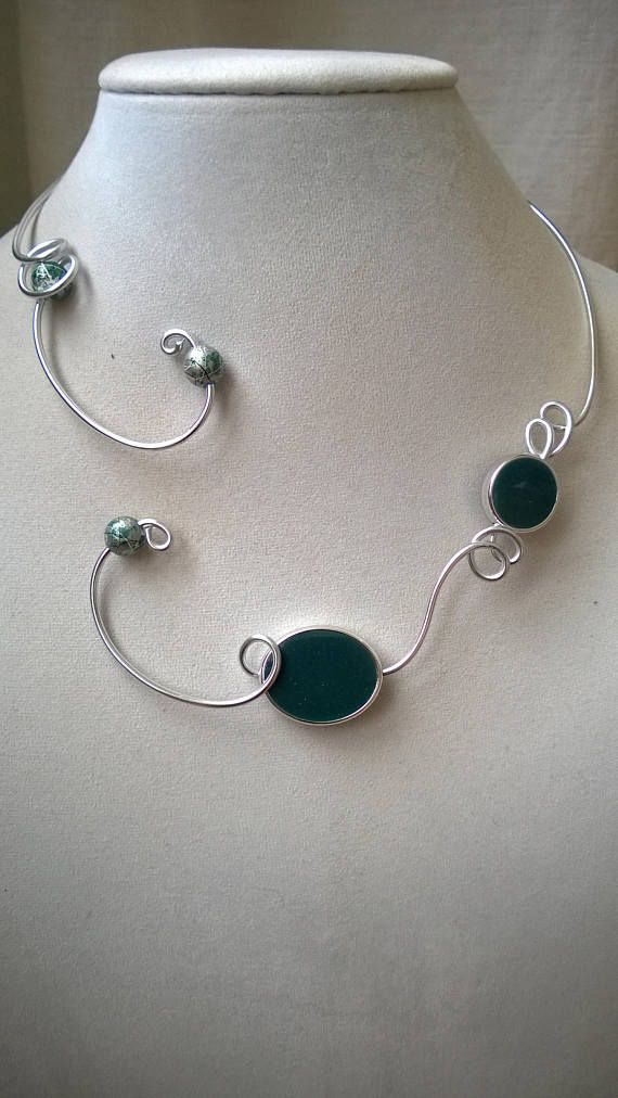 TEAL NECKLACE Teal jewelry Open collar necklace