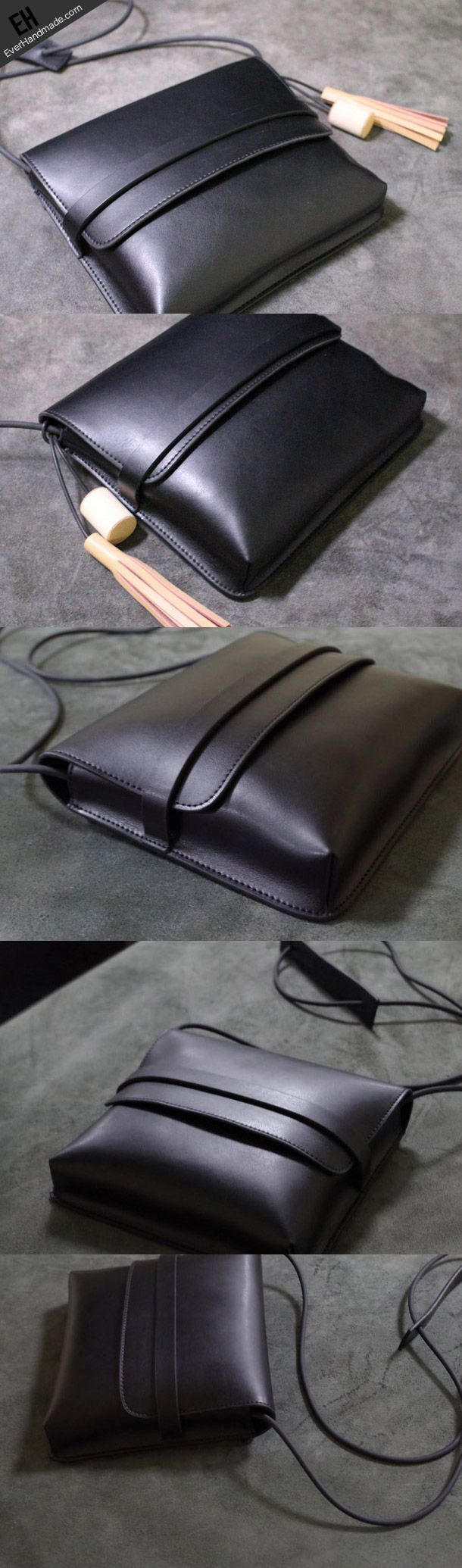 cool Handmade Leather shoulder bag black tassel for women leather crossbody bag...