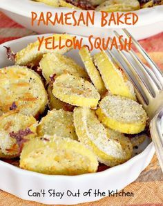 Parmesan Baked Yellow Squash - Mouthwatering veggie dish that's healthy, low calorie and gluten-free!