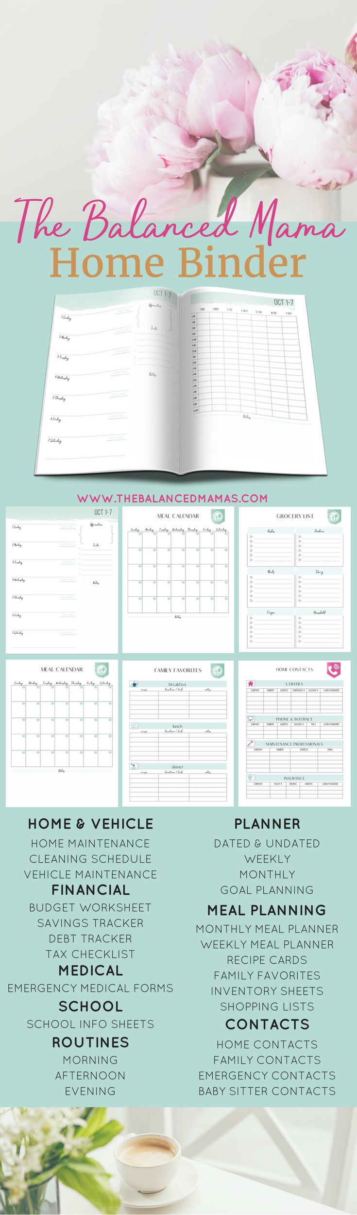 Keeping organized as a mom should be super easy! It will be with this life planner and home binder! Check out this easy to use home management binder to finally keep track of all of those tasks around the home and cars! The home management binder sections include meal planning, household maintenance checklist, vehicle logs, cleaning routines, routine planner, budgeting and so much more. The planner printables include weekly and hourly by the week pages. You also get monthly planning pages…