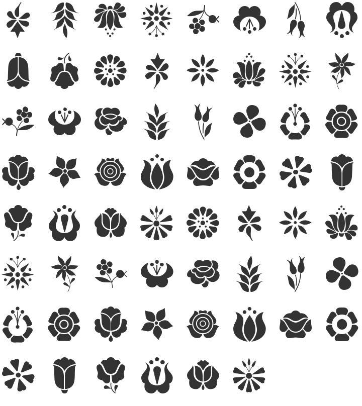 Kalocsai Flowers Dingbat Specimen - circles