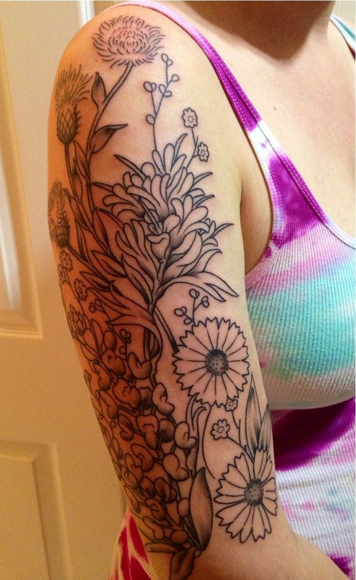Cartoon tattoo designs on shoulder - Wildflower Bouquet Tattoo Texas Wildflowers Sleeve Tattoo Too Big For Me But It S Going To