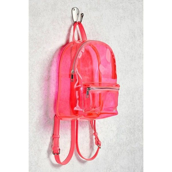 Forever21 Faux Leather Trim Clear Backpack ($25) ❤ liked on Polyvore featuring bags, backpacks, daypack bag, forever 21 bags, clear rucksack, crystal clear bags and pink backpack